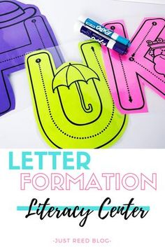 Help students master proper letter formation with this write and wipe literacy center that's easy to prep. Letter guides show students where to start and how to form each letter and make for a low prep independent literacy center for preschool or kindergarten.