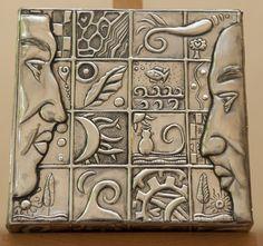 Left and right side of the brain. Aluminum Foil Crafts, Metal Crafts, Pewter Art, Pewter Metal, Metal Tape Art, Copper Artwork, Metal Worx, Metal Embossing, Tin Art