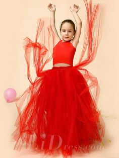 Little Girls Red Dancing Performance TuTu Dress Flower Girls Skirt