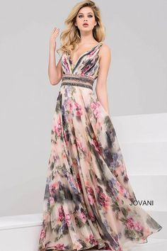 Gorgeous multi color print floor length chiffon gown with beaded wide belt features sleeveless ruched bodice with v neckline. Floral Maxi Dress, Chiffon Dress, Floral Chiffon, Pretty Dresses, Beautiful Dresses, Casual Summer Dresses, Formal Dresses, Formal Wear, Elegant Dresses