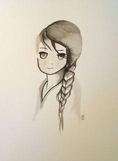 natacha sillegue sur etsy, portrait enfant, aquarelle, encre de chine