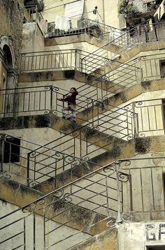 Olda stairs, Leonforte, Sicily 1985 by Ferdinando #Scianna