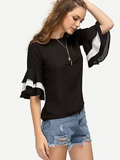 Floerns Womens Ruffle Bell Sleeve Casual Blouse Tops