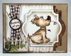 Sassy Cheryl challenge Masculine Card by jaydekay - Cards and Paper Crafts at Splitcoaststampers. Really like her layout use of the dies. Boy Cards, Kids Cards, Cute Cards, Penny Black, Animal Cards, Copics, Sympathy Cards, Masculine Cards, Creative Cards