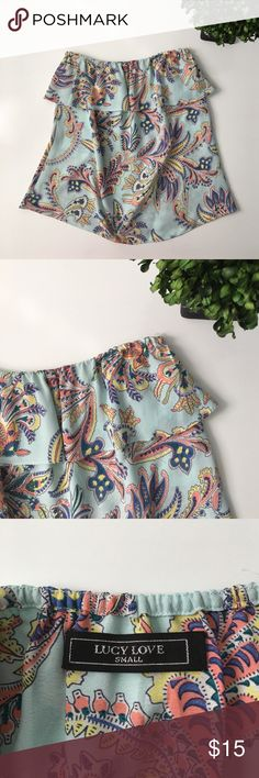 """Boutique LUCY LOVE Strapless Top Gently worn condition. Colored paisley pattern is really pretty & looks great with white skirt/shorts. No material tag but feels like polyester or rayon. Chest: 17"""". Length: 17 1/2"""". Ask any questions before purchasing. Tops"""