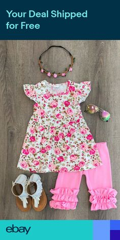 7ea29e0e460 US Stock Baby Kids Girls Toddler T-shirt Tops+Pants Outfits Leggings  Clothes Set