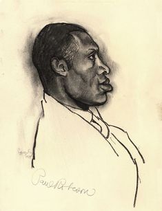 Tibor Gergely portrait of Paul Robeson, signed by Paul Robeson http://www.tiborgergely.com
