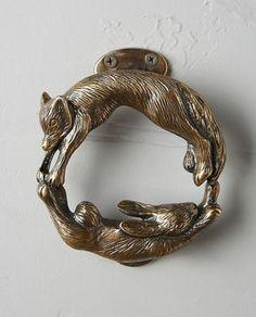 Anthropologie-Door-Knocker-Antique-Brass-Fox-Hare-Rabbit-Woodland-Doornocker-New