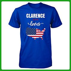 Clarence Loves Usa 4th July Independence Day Gift - Unisex Tshirt Royal S - Holiday and seasonal shirts (*Amazon Partner-Link)