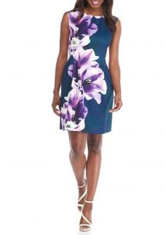 Vince Camuto Purple Multi Floral Printed Scuba Fit and Flare Dress