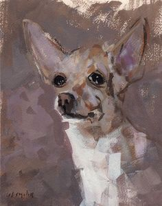 9x12 on 11x14 SIGNED FINE ART PRINT Chihuahua This is a fine quality reproduction of an original painting by David Lloyd. Printed with high