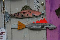 Fish Art Studio and Gallery, Tybee Isalnd GA Folk Art Fish, Fish Art, Fish Fish, Wooden Fish, Wooden Art, Palm Frond Art, Driftwood Fish, Fish Plate, Fish Sculpture