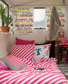 Bright, fun bedroom for a teenage girl. love those window coverings and the beachy vibe that's happening WITHOUT the use of typical beach colors.