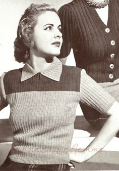 Curvy Month Pattern Prelude yoked jumper, c. Patons and Baldwins always added an out-size pattern to their knitting booklets - and it's an adventure trying to find it amongst all their . Vintage Knitting, Vintage Sewing Patterns, Knitting Patterns, Loom Knitting, Knitting Stitches, Crochet Pattern, Knit Crochet, Vogue Knitting, Black And White Design