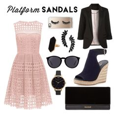 """""""Chic platform sandals"""" by leafashionpro ❤ liked on Polyvore featuring Prada, Balmain, Yves Saint Laurent, Olivia Burton, Cristabelle, Jaeger and Casetify"""