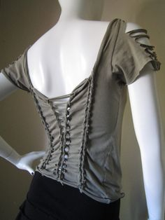 Upcycled Organic Cotton T Shirt Cut Shredded by DewdropzGarden