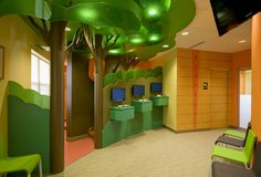 Creative use of 3form resin products in a pediatric dentist office, graphic, fun and modern