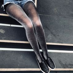 Pantyhose MEMOI GLITTER TIGHTS: Opaque tights with glitter. Available in black/gold, black/silver. Sparkly Tights, Grey Tights, Opaque Tights, Shorts With Tights, Tights Outfit, Tight Leggings, Tights And Heels, Grunge Look, Shoes