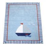 Kinderteppich 'Segelboot' hellblau 140x200cm