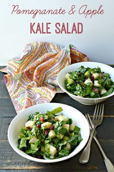 Pomegranate & Apple Kale Salad is perfect for fall. Raw | Vegan | Gluten Free | Sugar Free