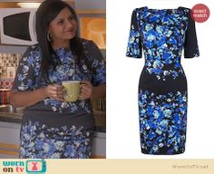 Mindy's black and blue floral dress on The Mindy Project.  Outfit Details: http://wornontv.net/29893/ #TheMindyProject