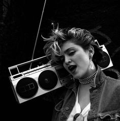 My girl Madonna. I use to walk down the road with my JAMBOX on my shoulder too.
