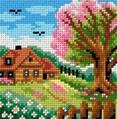 This Pin was discovered by jad Cross Stitch House, Cross Stitch Tree, Beaded Cross Stitch, Cross Stitch Kits, Cross Stitch Designs, Cross Stitch Embroidery, Embroidery Patterns, Hand Embroidery, Cross Stitch Patterns