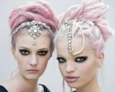 Chanel pastel pink lavender hair with jewels.