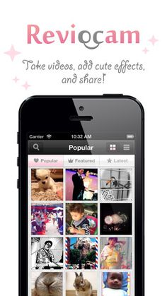 "Reviocam - This app uses the super cute style of ""Purikura"" (aka goofy mall booth photos) to make photos and videos campy and irresistibly fun. We took this app for a spin on the iPhone 5, and it was a blast. While you can browse and view others' efforts, the real fun comes when you've selected or captured your own photo or video. Then you can add cool elements, like filters, frames, stamps and effects, to it. Name it. Tag it. Get this bad boy on your iPhone and start sharing those memories…"