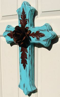 Large Turquoise Wood Cross with Rustic Rose and Leaves.via Etsy. Wooden Crosses, Crosses Decor, Wall Crosses, Painted Crosses, Cross Love, Sign Of The Cross, Rustic Cross, Rustic Art, Old Rugged Cross