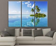 Paradise Tropical Island Canvas Print - 3 Piece Large Canvas Art