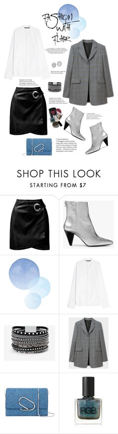 """Happy Friday!!!"" by shortyluv718 ❤ liked on Polyvore featuring Sans Souci, Kin by John Lewis, Haider Ackermann, White House Black Market, Paul Smith, 3.1 Phillip Lim, RGB Cosmetics, booties, blazer and leatherskirt"
