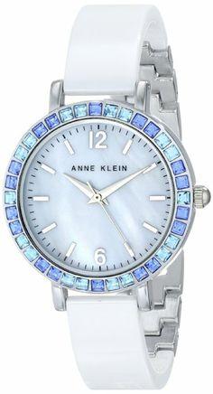 Anne Klein Women's  Blue Swarovski Crystal Accented White Ceramic Bangle Watch