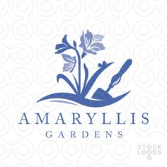 Logo for sale: Beautiful stylized amaryllis flowers grow in this garden design with a gardener's hand spade.
