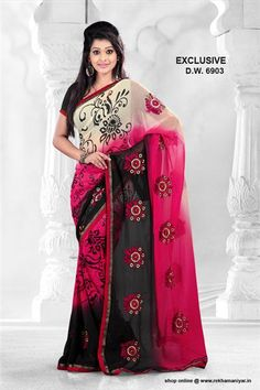 This pink & black printed chiffon saree comes with great eye catching work design which makes saree's look more beautiful. This saree is the perfect blend of traditional and modern fashion. Wear this saree for any occasion with matching fashion jewellery and flats for a perfect ethnic look.