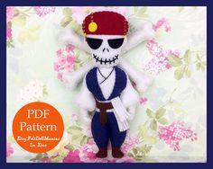 Skeleton Pirate.Felt Doll. Felt pattern. PDF Pattern. Sewing pattern. Felt Crafts.Halloween pattern. Halloween Decoration.