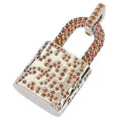 Pre-owned Louis Vuitton 18K White Gold Orange Sapphire Graffiti... ($8,099) ❤ liked on Polyvore featuring jewelry, pendants, sapphire jewelry, charm pendant, heart jewelry, sapphire heart pendant and white gold pendant