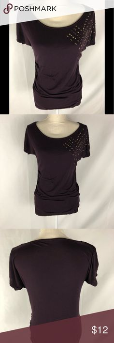 Liz Claiborne Small Maternity Shirt Pretty deep purple small maternity shirt with gold decal on one side of sleeve. The shirt is long and is great for all stages of pregnancy. It has gathering on each side. Liz Claiborne Tops Tees - Short Sleeve