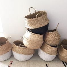 Versatile hand made Eco dipped white SEAGRASS BASKETS are perfect for indoor plants, storage for kids toys, towels or weekend visits to the beach & markets.