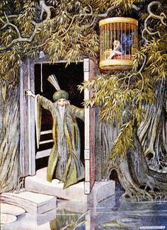 Illustration from 'The Land of Happy Hours' by Stella Mead aka Helen Jacobs 'Just outside the door hung the Blue Fairy's cage' (colour litho)