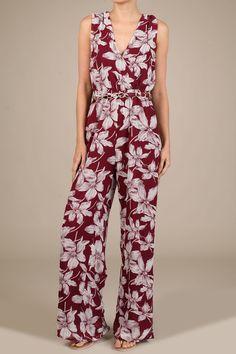 Floral Print Full Length V-Neck Jumpsuit