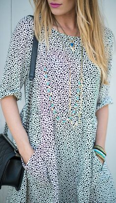 Otte Black And White Spotted Pocket Dress by Eat.Sleep.Wear.
