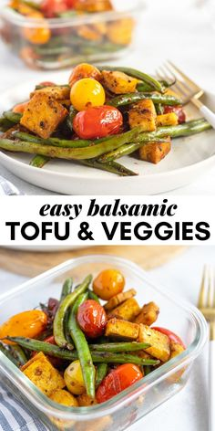 This easy balsamic tofu with green beans, tomatoes and onion makes a great option for a low-carb vegan meal prep or light, healthy meal any night of the week. This recipe is vegan and gluten-free. Vegan Entree Recipes, Tofu Recipes, Vegan Dinners, Real Food Recipes, Healthy Recipes, Meal Recipes, Free Recipes, Healthy Vegan Breakfast, Easy Vegetarian Lunch