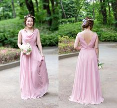 2020 Dusty Pink V Backless Bridesmaid Prom Evening Dresses Empire Country Chiffon Ruched Floor Length Wedding Party Bridesmaid Dress Cheap Designer Dress Designer Gowns From Stunningdress88, $60.31| DHgate.Com Cheap Designer, Designer Gowns, Green Bridesmaid Dresses, Wedding Dresses, Plus Size Dresses, Short Dresses, Stunning Dresses, Dusty Pink, Evening Dresses
