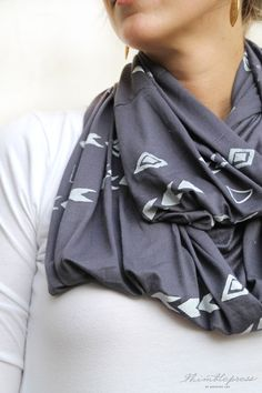 Laurel Gray Infinity Scarf - Screen Printed by Hand. $38.00 | Thimblepress