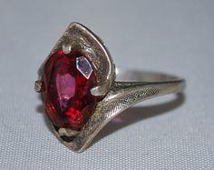 Sterling silver Garnet ring size 5.5