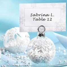 Snow Flurry Flocked Glass Ornament Place Card/Photo Holder (Set of down like delicate bursts of white, winter's unique gift provides a lovely motif for gifts of the season. The Snow Flurry Holiday Ornament Place Card and Photo Holder Wedding Places, Wedding Place Cards, Wedding Table, Wedding Seating, Christmas Wedding Favors, Winter Wedding Favors, Winter Weddings, Christmas Parties, Wedding Ornament