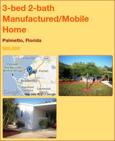 3-bed 2-bath Manufactured/Mobile Home in Palmetto, Florida ►$69,900 #PropertyForSale #RealEstate #Florida http://florida-magic.com/properties/8058-manufactured-mobile-home-for-sale-in-palmetto-florida-with-3-bedroom-2-bathroom