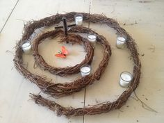 Advent Spiral from grapevine stripped bare for Lent. Add as many candles as you wish