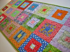 Quilted Table Runner, Springtime Scrappy Squares, Pastel Table Mat, Quiltsy Handmade by VillageQuilts on Etsy